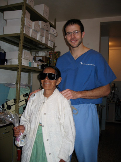 Dr. Dimmig with a patient soon after sight restoring cataract surgery.