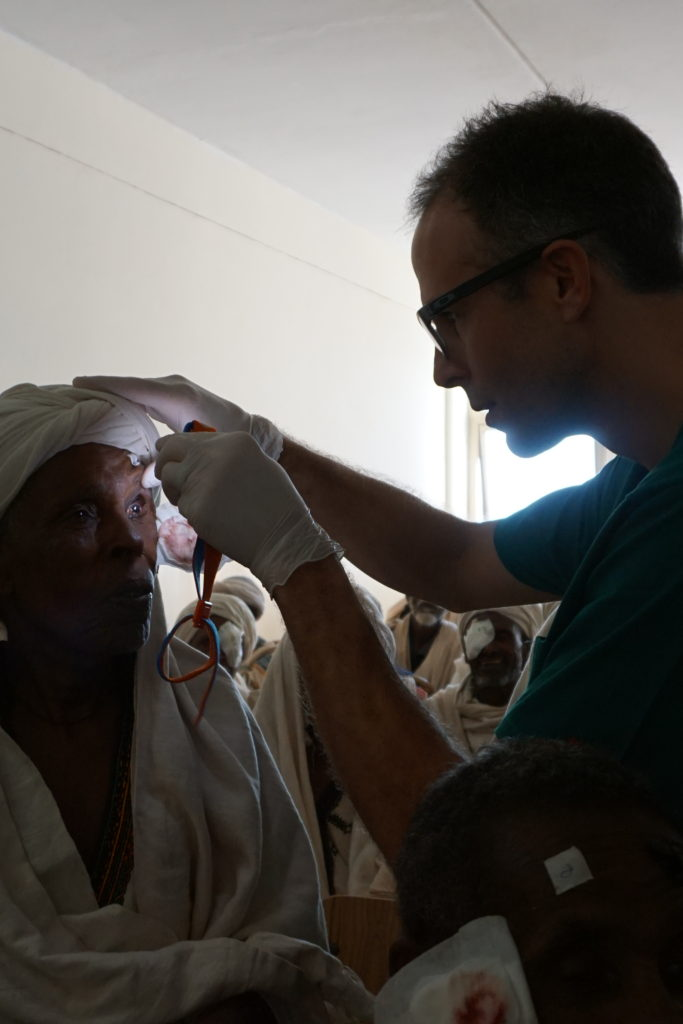 Dr. Dimmig checks on a postoperative patient.