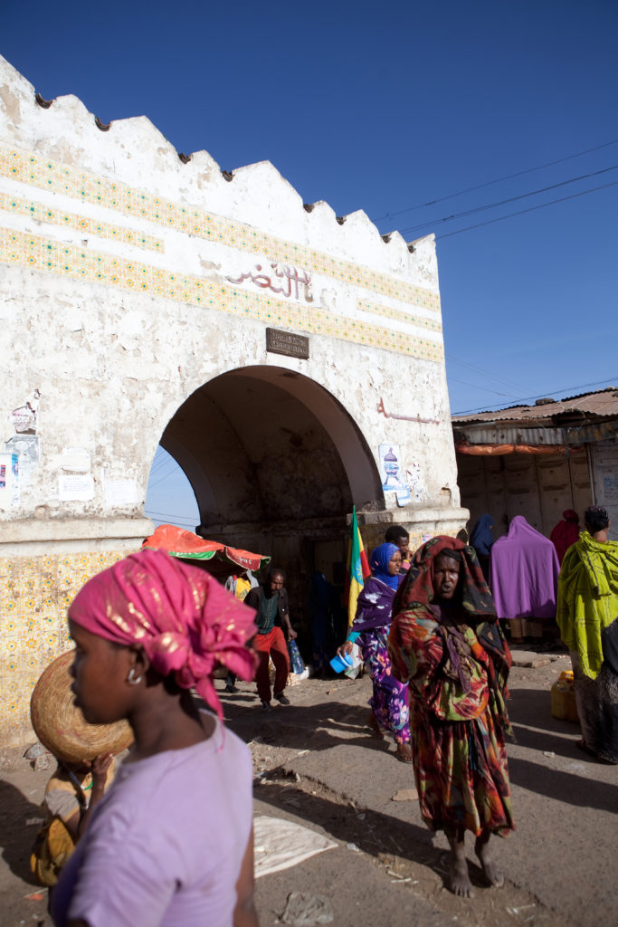 One of the 5 gates into the walled city of Harar, a world heritage site.