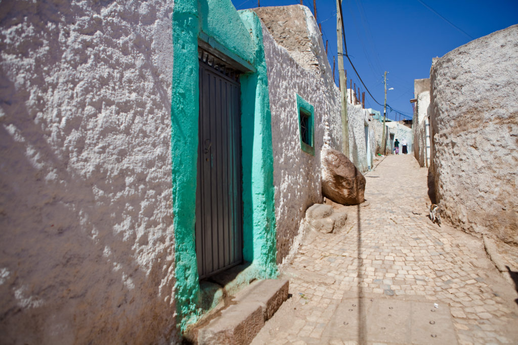 A typical street inside the walled city of Harar.