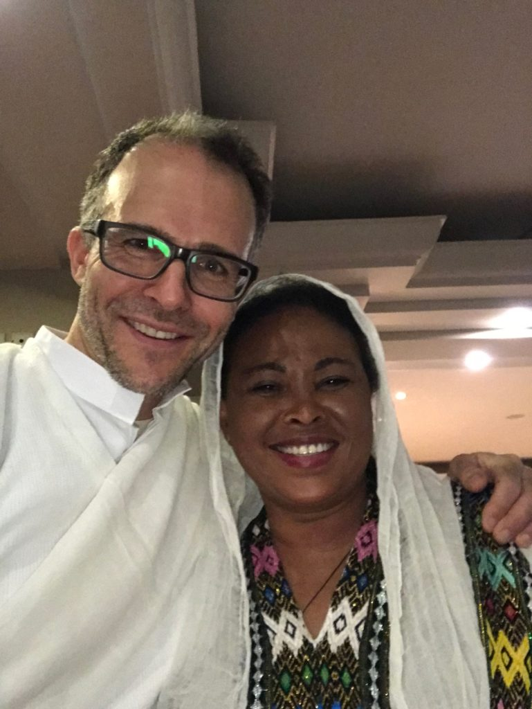 Dr. Dimmig and Flora, a superb surgical scrub,  in traditional Ethiopian clothes at the last night's celebration.