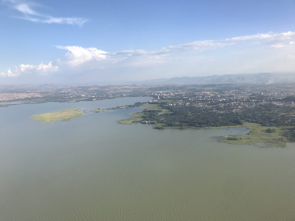An aerial view of Bahir Dar, a thriving city on the banks of Lake Tana, the source of the Blue Nile.